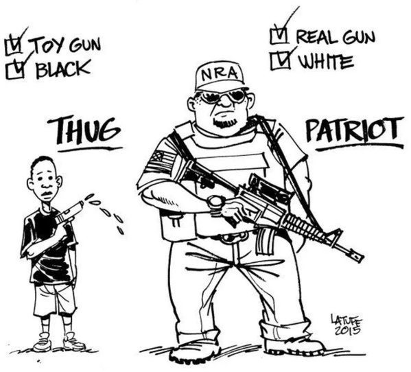 Political cartoon: young black boy with toy gun labeled 'thug'; big burly white NRA supporter with real gun labeled 'patriot'